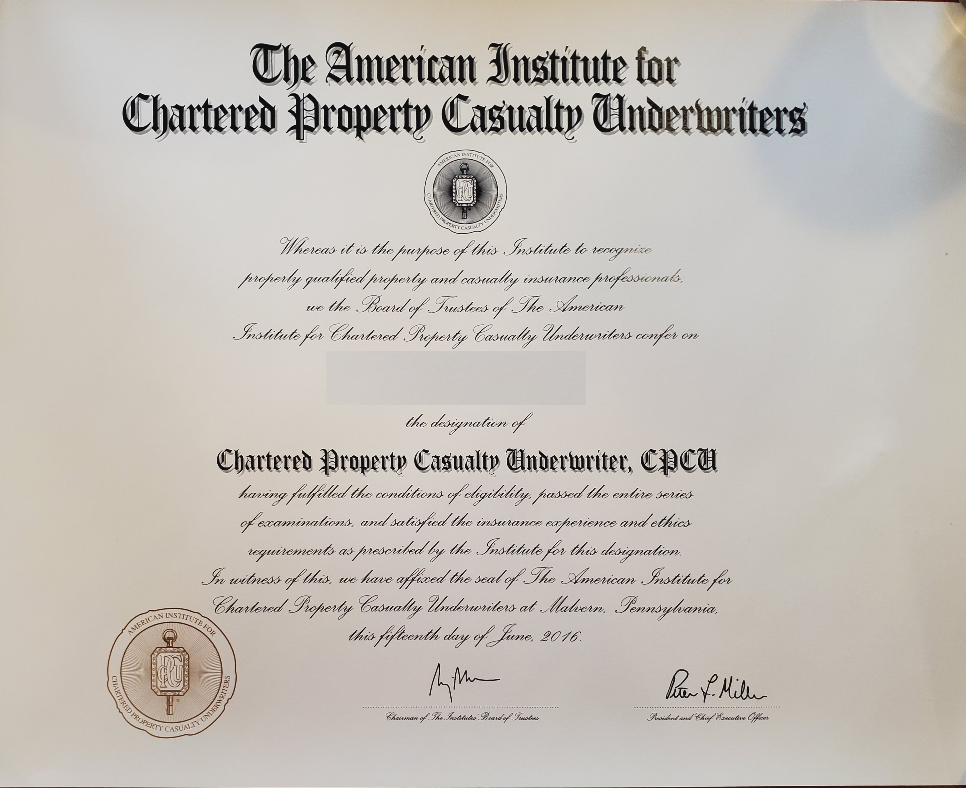 CPCU Designation with AssociatePI